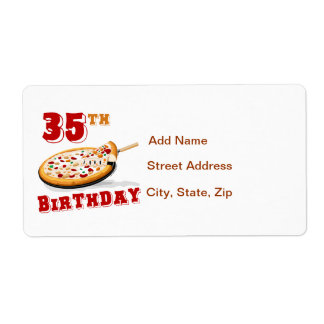 35th Birthday Pizza Party Label