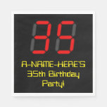 "[ Thumbnail: 35th Birthday: Red Digital Clock Style ""35"" + Name Napkins ]"