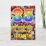 "[ Thumbnail: 35th Birthday; Rustic Autumn Leaves; Rainbow ""35"" Card ]"