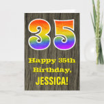 "[ Thumbnail: 35th Birthday: Rustic Faux Wood Look, Rainbow ""35"" Card ]"