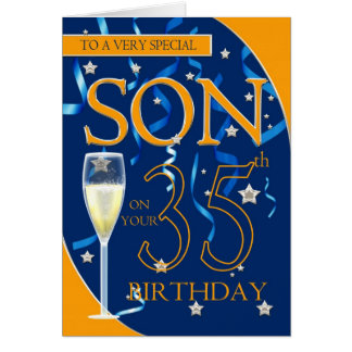 35th Birthday Son - Champagne Glass Card