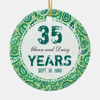 35th Jade Wedding Anniversary Paisley Monogram Ceramic Ornament