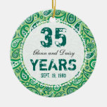 35th Jade Wedding Anniversary Paisley Monogram Double-Sided Ceramic Round Christmas Ornament