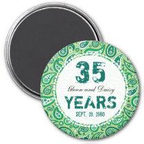 35th Jade Wedding Anniversary Paisley Pattern Magnet