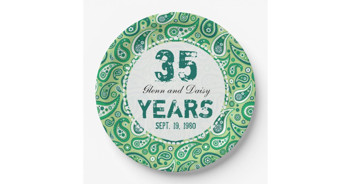 Jade Gifts 35th Wedding Anniversary: 35th Jade Wedding Anniversary Paisley Pattern Paper Plate