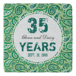 35th Jade Wedding Anniversary Paisley Pattern Trivet