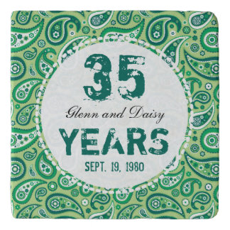 35th Jade Wedding Anniversary Paisley Pattern Trivet