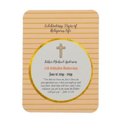35th Ordination Anniversary Priest Sapphire Gold Magnet