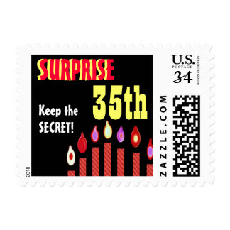 35th SURPRISE Birthday Party Stamp Red Candles V23