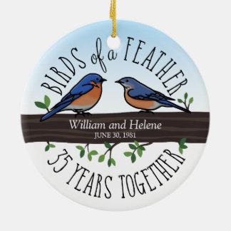 35th Wedding Anniversary, Bluebirds of a Feather Ceramic Ornament