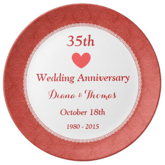 35th Wedding Anniversary CORAL Damask Pattern W35B Dinner Plate