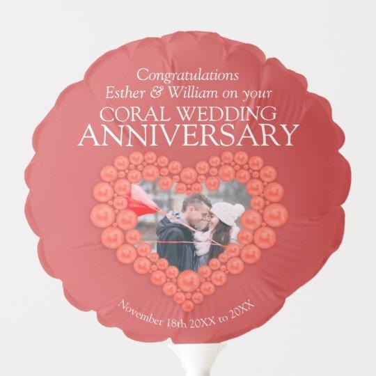 What Is The 35th Wedding Anniversary Gift: 35th Wedding Anniversary Coral Heart Custom Photo Balloon