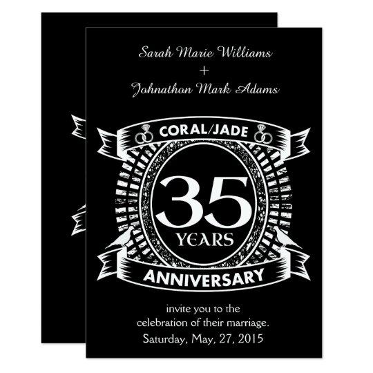 35th Wedding Anniversary Coral Jade Crest Invitation Zazzle