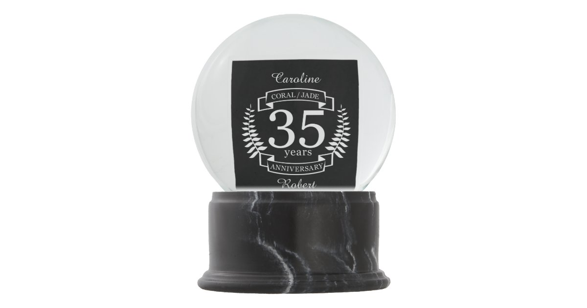 Coral Gifts 35th Wedding Anniversary: 35th Wedding ANNIVERSARY JADE / CORAL Snow Globe