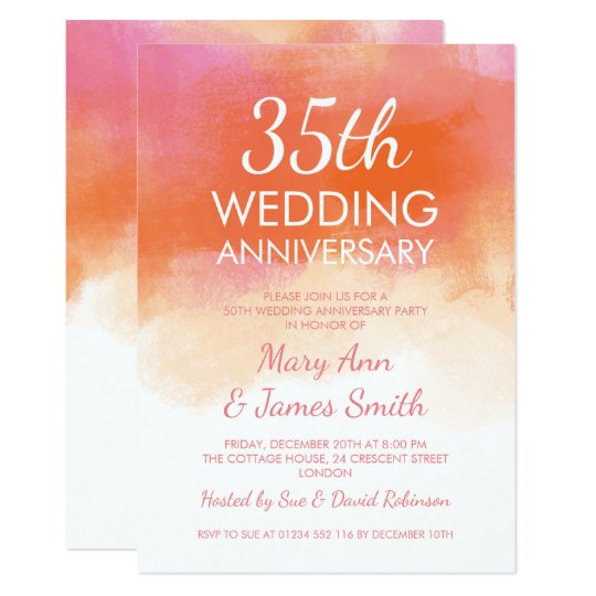 Coral Wedding Anniversary 35th Wedding Anniversary Card: 35th Wedding Anniversary Pink Coral Watercolor Invitation