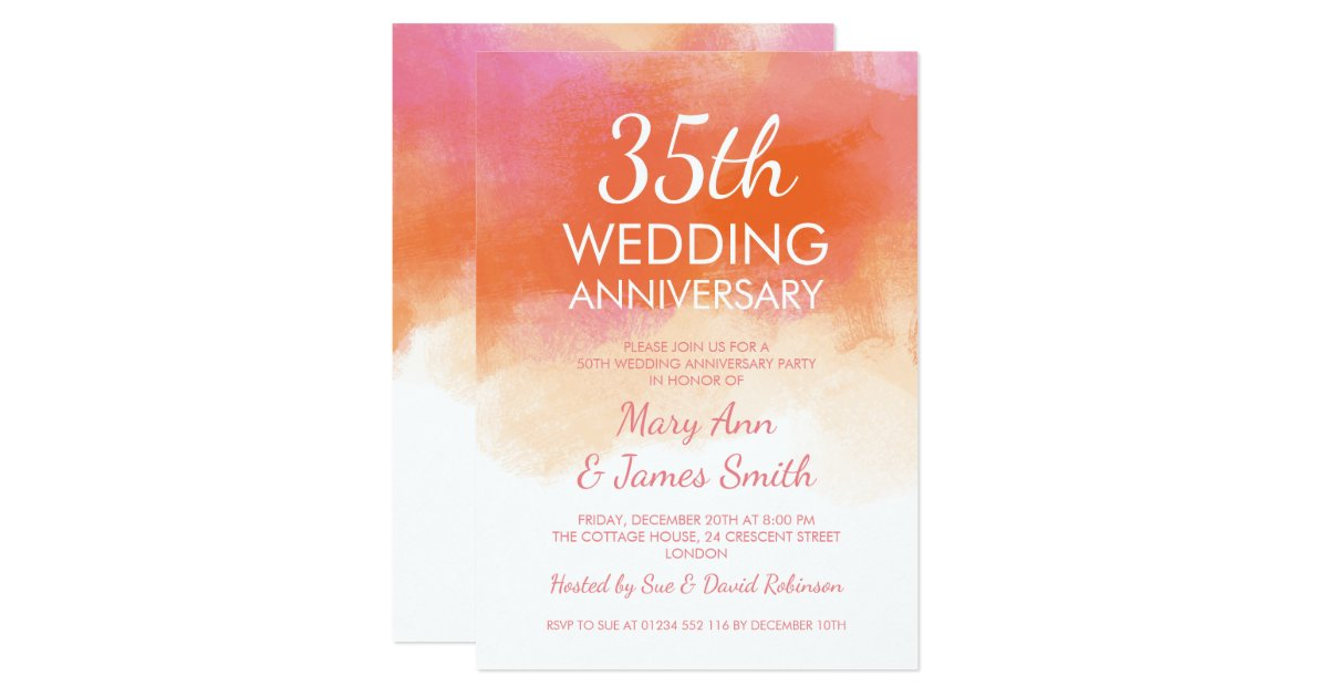Coral Gifts 35th Wedding Anniversary: 35th Wedding Anniversary Pink Coral Watercolor Invitation