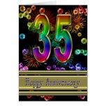 35to aniversario con los fuegos artificiales y las tarjetón
