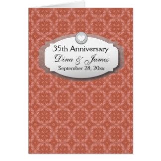 35to Coral Z22 del aniversario de boda del Tarjeta Pequeña