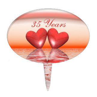 35to Corazones del coral del aniversario Decoraciones De Tartas
