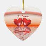 35to Corazones del coral del aniversario Adorno Para Reyes