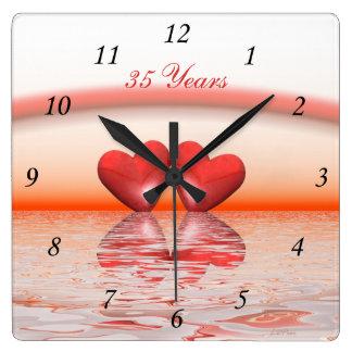 35to Corazones del coral del aniversario Reloj