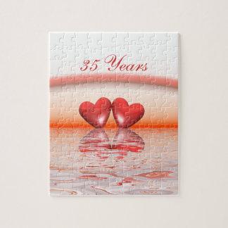 35to Corazones del coral del aniversario Rompecabezas