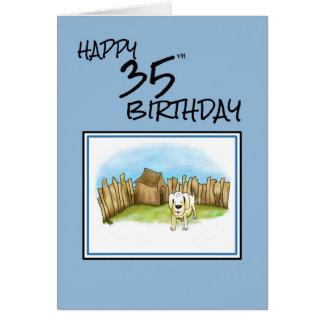 35to cumpleaños feliz con el perro del dibujo tarjeta de felicitación