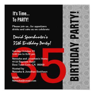 """35to Cumpleaños o cualquier negro de plata rojo Invitación 5.25"""" X 5.25"""""""