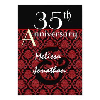 35to Damasco rojo del aniversario y negro elegante Invitacion Personal