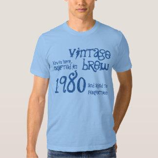 35to Dril de algodón azul el an o 80 del Brew del Camisas