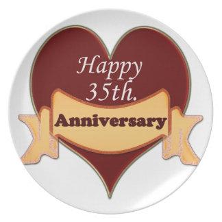 35to feliz. Aniversario Plato De Comida