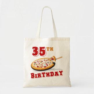 35to Fiesta de la pizza del cumpleaños Bolsa Tela Barata