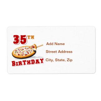 35to Fiesta de la pizza del cumpleaños Etiquetas De Envío
