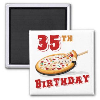 35to Fiesta de la pizza del cumpleaños Imán Cuadrado