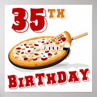 35to Fiesta de la pizza del cumpleaños Póster