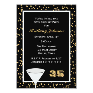 35to Invitación de la fiesta de cumpleaños -- 35 y Invitación 12,7 X 17,8 Cm