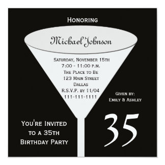 35to Invitación de la fiesta de cumpleaños -- Una Invitación 13,3 Cm X 13,3cm