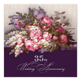 """35to Invitaciones de la fiesta de aniversario del Invitación 5.25"""" X 5.25"""""""