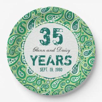 35to Modelo de Paisley del aniversario de boda del Platos De Papel