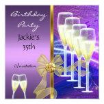 35to oro púrpura elegante de la fiesta de anuncios personalizados