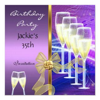 """35to oro púrpura elegante de la fiesta de invitación 5.25"""" x 5.25"""""""