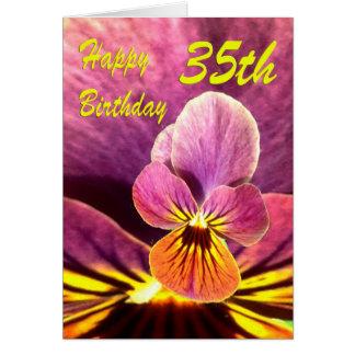35to pensamiento feliz de la flor del cumpleaños tarjeta de felicitación