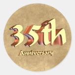 35to Regalos del aniversario de boda Etiqueta Redonda