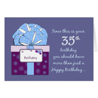35to Tarjeta del personalizable del cumpleaños