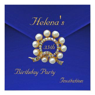 """35to Terciopelo azul rico de la fiesta de Invitación 5.25"""" X 5.25"""""""