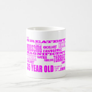 35tos cumpleaños treinta y cinco más grande rosado taza básica blanca