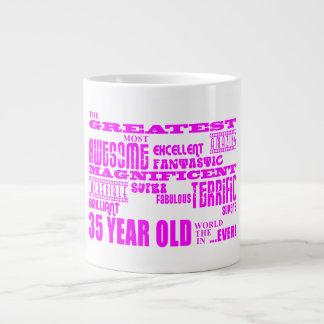 35tos cumpleaños treinta y cinco más grande rosado taza extra grande