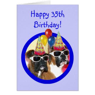 35tos perros felices del boxeador del cumpleaños tarjeta de felicitación
