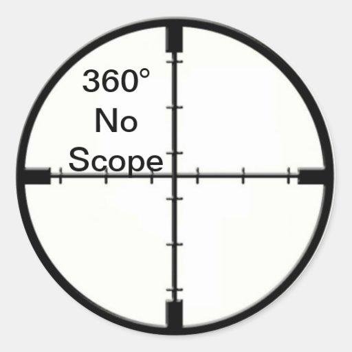 360 No Scope Video Game Joke Crosshairs FPS Stickers