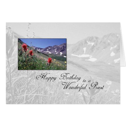 3615 Birthday Priest Mountain Flower Greeting Cards
